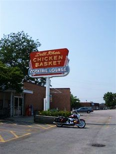 "Dell Rhea's Chicken Basket. Slogan: ""Get your chicks on Route 66"". Hinsdale, Illinois."