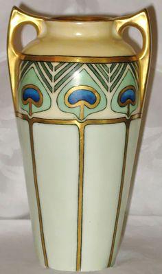 French Art Deco Limoges Porcelain Vase Gilt And Hand
