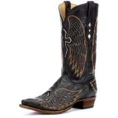 Corral Boots Corral Mens Distressed Black/Gold Inlay Winged Cross Boot #A1961 click to purchase