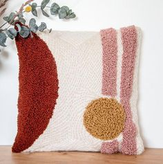 Needle punching is the absolute trend in embroidery. Stylish look and cool patterns are . Needle punching is the absolute trend in embroidery. Stylish look and cool patterns are …, Diy Pillows, Decorative Pillows, Cushions, Throw Pillows, Needle Cushion, Punch Needle Patterns, Latch Hook Rugs, Rico Design, Crochet Pillow