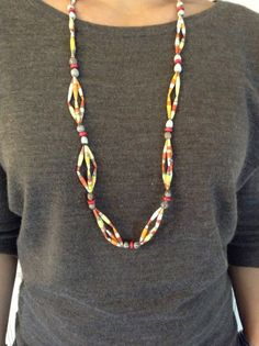 E2/3/4 Mixed Colors Paper Bead Necklace w/Natural by Twerwaneho, $10.00