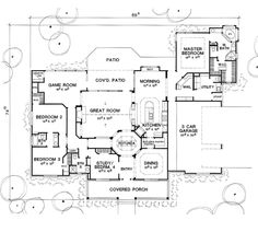 floor plan - love this one: 4 bedrooms, game room, bungalow with 3 car garage.