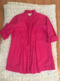 Michael Kors Pink Ruffle Button Down 3/4 Sleeve Top Size Small #MichaelKors #ButtonDownShirt #Casual