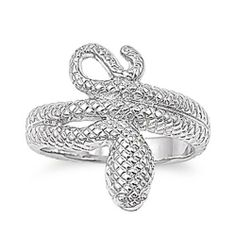 Rhodium Plated Brass Wedding & Engagement Ring Snake Ring 19MM ( Size 8 to 9) Double Accent. $14.99