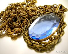 Miriam Haskell Blue Glass Pendant Necklace on Rope Chain - worn2perfection