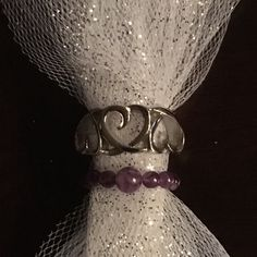 Stainless Steel Thumb Ring & Amethyst Bead Ring Stainless steel heart ring perfect as a thumb ring, size 8. Size 5 amethyst bead ring. 🚫Smoke free home 🚫❌No trades❌20% off all bundles❣️All reasonable offers considered😊🛍📦Quick shipping ❣️📦 Jewelry Rings