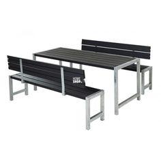 Plus Plankesæt - sort - 1 bord og 2 bænke m/2 ryglæn
