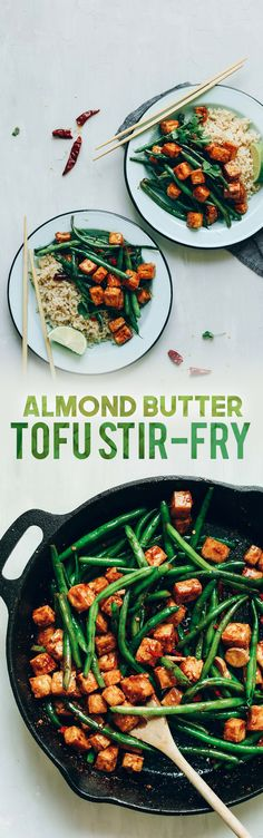 Almond Butter Tofu Stir-Fry! Healthy, 9 ingredients, fast, protein-rich! #vegan #glutenfree #plantbased #stirfry #tofu #healthy #minimalistbaker