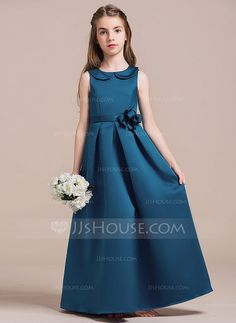 [US$ 77.49] A-Line/Princess Scoop Neck Floor-Length Satin Junior Bridesmaid Dress With Beading Flower(s) (009087891)