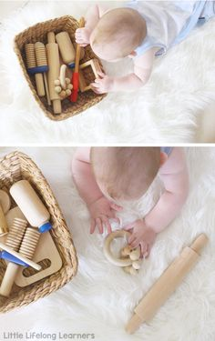 Sensory play ideas for babies   discovery baskets for babies   activities for playing with your baby   3 month old   6 month old   learning at home   exploring touch, feel, taste, small and sound   exploring the 5 senses