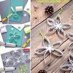 diy-flocon-neige-recup-carton-Creamalice Christmas Crafts For Kids, Simple Christmas, Holiday Crafts, Christmas Diy, Wreath Crafts, Diy Crafts, Christmas Place Cards, Crafts For Seniors, Theme Noel