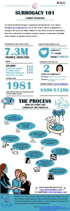 Surrogacy 101: A brief overview of the surrogacy process in infograph form.