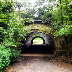 """Nethermead Arch, Prospect Park. """"Unlike Central Park, where the arches are brick-lined, in Prospect Park the designers thought to line the Endale Arch w/zebra-like alternating stripes of black walnut & yellow pine, """"to avoid the drip which would occur from the condensation of moisture,"""" according to the 1870 Annual Report of the Brooklyn Park Commissioners. The arches were conceived as rooms & had seats, out of the sun, """"where weariness may be lounged off,"""" as The New York Times put it in…"""