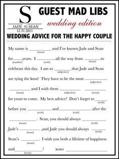 wedding mad libs template free   Fun Unique Guest Book Alternative PERFECT for Destination Wedding ...