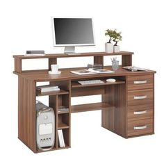 """Der Computertisch """"Bernd"""" von XORA besticht durch sein durchdachtes Design. Mittels Aufsatz für den Monitor ist das Wichtigste stets im Blick. 4 Laden bieten viel Platz für Unterlagen. Druckerfach und Tastaturauszug erleichtern das Arbeiten. Der PC-Tisch wirkt edel in Nussbraun und erhält durch silberfarbene Bügelgriffe den letzten Schliff. Schaffen Sie wirkungsvolle Arbeitsatmosphäre mit diesem Computertisch!"""