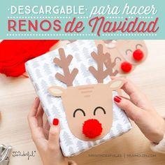 Descargables para decorar la Navidad, unos renos graciosísimos en diferentes tamaños y unas bolitas geniales. #downloadable #christmas