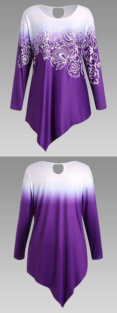 Plus Size Floral Ombre Long Sleeve Asymmetric Top