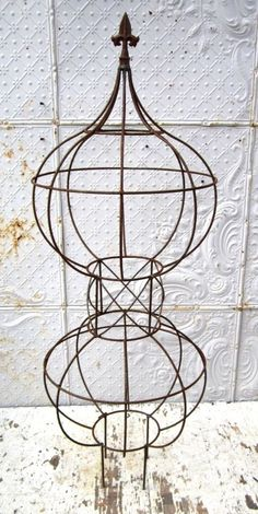 "44"" Wrought Iron Double Fat Charlie Topiary Metal Trellis for Vines Garden Decor A PAIR OF THESE FOR THE CLEMATIS NEXT SUMMER"