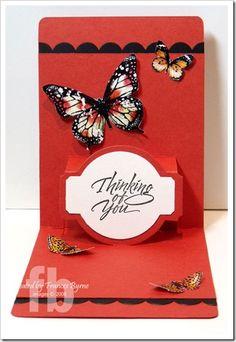 Pop Up card using Karen Burniston's Sizzix Pop N Cuts Base Die and the Circle Label Insert die