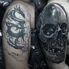 60 Cover Up Tattoos For Men – Concealed Ink Design Ideas Tribal Dragon To Skull Before And After Mens Arm Cover Up Tattoos Cover Up Tattoos For Men Arm, Tribal Tattoo Cover Up, Tribal Cover Up, Wrist Tattoo Cover Up, Best Cover Up Tattoos, Black Tattoo Cover Up, Tattoos For Guys, Men Tattoos, Dragon Tattoo Cover Up Ideas