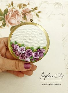 Pink rose Personalized Compact Mirror Beautiful by Joyloveclay, $30.00