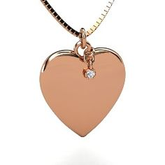 Skylight Heart Gem Pendant, Round White Sapphire Rose Gold Necklace from Gemvara