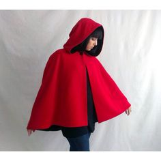 Little red riding hood, red cape, wool cape, adult cape little red... ($155) ❤ liked on Polyvore featuring outerwear, coats, wool hooded cloak, hooded coat, woolen coat, red cape and red hooded cloak