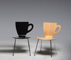 Coffee cup-shaped stool. They should seriously have these at Starbucks!