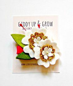 Felt Flower Hair Clip - Summer Flowers, Glitter Hair Clip, Giddy Up and Grow on Etsy, $18.13 AUD