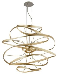 The Calligraphy LED pendant light by Corbett Lighting is a fluid metal form in s gold leaf finish with polished stainless accents. wide x 38 high. Style # at Lamps Plus. Luxury Lighting, Interior Lighting, Home Lighting, Modern Lighting, Lighting Design, Industrial Lighting, Bathroom Lighting, Led Pendant Lights, Led Chandelier