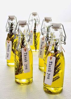 12 Best Edible Wedding Favors: Olive you! Bottles of rosemary olive oil make for an elegant and delicious way to give thanks to your wedding guests. - 12 Best Edible Wedding Favors: Olive you! Bottles of rosemary olive oil make . Wedding Favors And Gifts, Edible Wedding Favors, Bridal Shower Favors, Party Favours, Edible Favors, Wedding Guest Gifts, Wedding Tokens, Party Favour Ideas, Wedding Favours Elegant