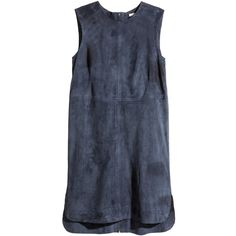 H&M Suede dress (150 CAD) ❤ liked on Polyvore featuring dresses, vestidos, tops, h&m, dark blue, sleeveless dress, dark blue dress, h&m dresses and suede dress