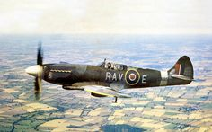 An poster sized print, approx (other products available) - Supermarine Spitfire F XIV -this version, powered by a Rolls-Royce Griffon was the last to enter major wartime production. - Image supplied by Mary Evans Prints Online - Poster printed in the USA Aircraft Photos, Ww2 Aircraft, Fighter Aircraft, Military Aircraft, Fighter Jets, Navy Aircraft, The Spitfires, Supermarine Spitfire, Battle Of Britain