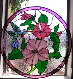 hummingbird stained glass round patterns - Google Search