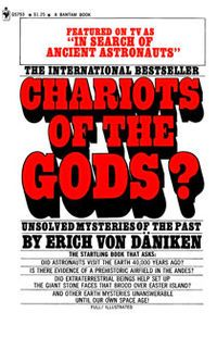 """Von Daniken believes that aliens have been visiting Earth since the dawn of time. He states: """"The existence of structures and artifacts have been found which represent higher technological knowledge than is presumed to have existed at the times they were manufactured."""" It's a thought-provoking book."""