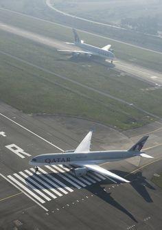 Line up and wait: Qatar Airways: A350XWB & A380-800