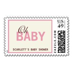 oh baby soothing pink baby shower postage