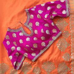 Pink and silver blouse Pattu Saree Blouse Designs, Silk Saree Blouse Designs, Stylish Blouse Design, Designer Blouse Patterns, Work Blouse, Sarees, Bangle Box, Ethnic, Kids Lehenga