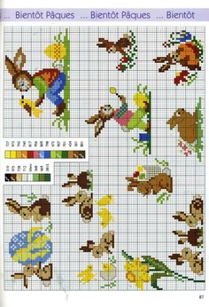 rabbits and one turtle Cross Stitch Borders, Cross Stitch Baby, Cross Stitch Animals, Cross Stitch Designs, Cross Stitching, Cross Stitch Embroidery, Counted Cross Stitch Patterns, Easter Cross, Easter Crochet