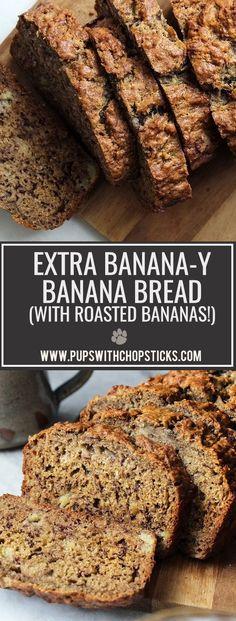 Roasted Banana Banana Bread Lightly sweetened, moist, extra banana-y banana bread recipe that made with roasted bananas! Healthy Bread Recipes, Banana Bread Recipes, Baking Recipes, Delicious Recipes, Healthy Meals, Cookie Recipes, Monkey Bread, Croissants, Breakfast Recipes