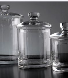 Glass Apothecary Canister  Storage Jars  (set of three jars)  $20