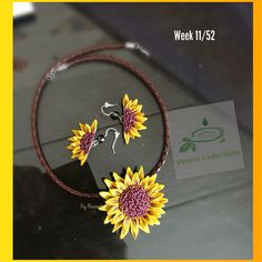 Sunflower collar necklace n earrings set The flowers are made from polymer clay. Pendant is strung on a brown colored leather cord. Purely handmade, no molds , no paints used. 11/52 of #polymerclaychallenge #handmade #floral #flower #sunflower #neckset #wearableart #collarnecklace #earrings #buylocal #supportlocalartists #veneracollections #collar #choker #veneracollections #jewelry #summerjewelry #jewellery #spring #yellowflower #yellow #yellow_brown #fashion #trendy