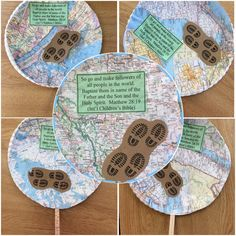 "The Great Commission Craft: We cut circles from an old atlas to fit paper plates.  Printed the scripture and footprints found online.  (Printed footprints on Kraft paper to look like dirt.)  Added a craft stick to hold their ""globes"".  #thegreatcommission #thegreatcommissioncraft #matthew28 #preschoolcraft #sundayschoolcraft #craftideas #greatcommissioncraft #greatcommission #sundayschoolideas"