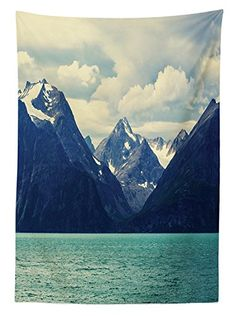 Snowy Nature Tablecloth Northern Norway Mountains Atlantic Coastline Fishing Harbor Dining Room Kitchen Rectangular Table Cover