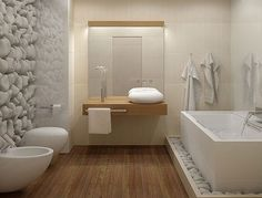 50 awesome natural stone bathroom ideas bathroom design freestanding tub with rocks at base white bathroom bedroom decor styles Zen Bathroom, Bathroom Toilets, Diy Bathroom Decor, White Bathroom, Bathroom Ideas, Bathroom Goals, Family Bathroom, Simple Bathroom, Bathroom Designs
