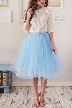 2a5426e591e 2016 New Arrival Sky Blue Tulle Skirt A Line Knee Length Tutu Skirt Casual  Spring Summer Style Women Skirts