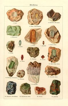 REDUCED Vintage Print Antique German MINERALS CHART Plate