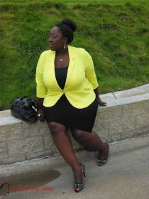 Plus Size, Plus Size Fashion, Style, Plus Size Blogger, Fioni Heels, Kenneth Cole Purse, Curvy, woman of color, african American, Natural Hair, Box Braids, Yellow, Peplum Blazer,  Pencil skirt