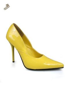 Pleaser Women's Milan 1 Pump,Yellow Patent,7 M US - Pleaser pumps for women (*Amazon Partner-Link)