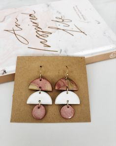 Studs pack  2 pairs  lightweight  clay earrings  handmade with love  summer  gift for her  stripes  slow made  clay jewelry
